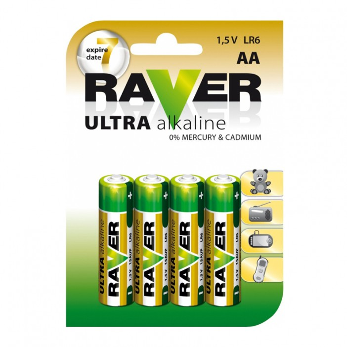 Raver Batéria alkalická AA 4 ks