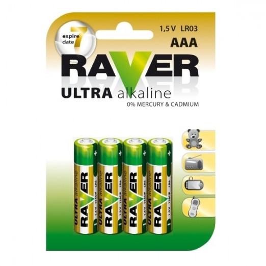 Raver Batéria alkalická AAA 4 ks